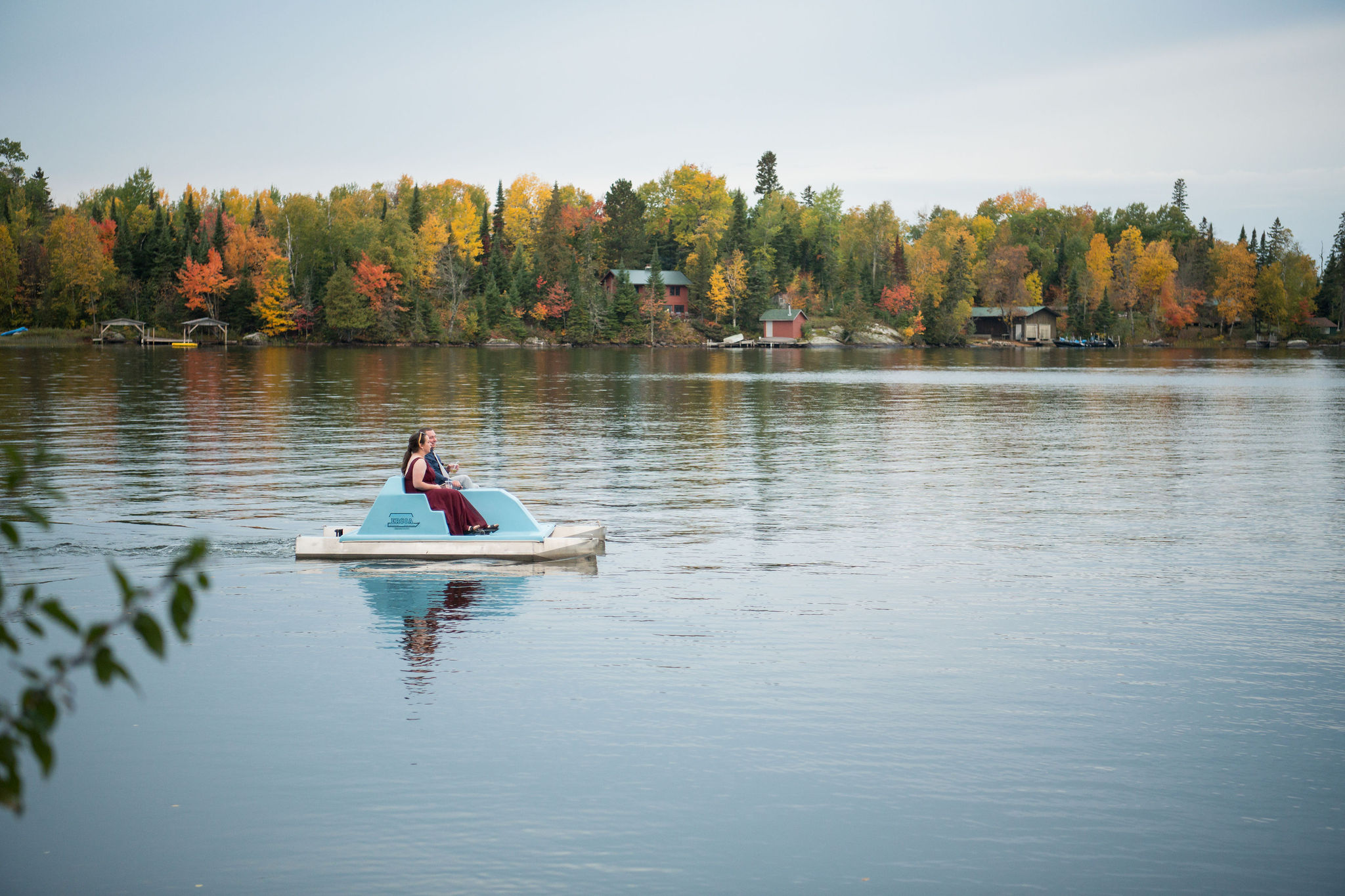 Couple in a paddleboat.